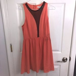 Coral dress with Black mesh front